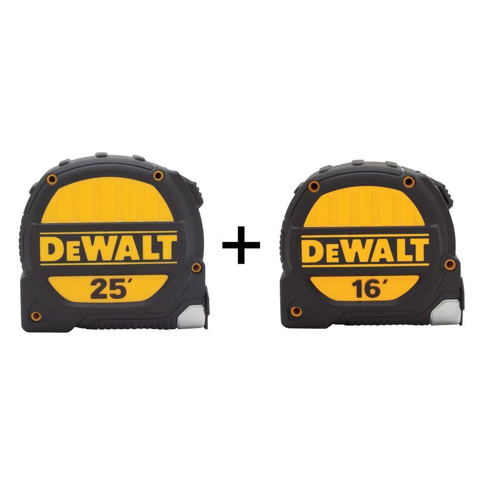 DEWALT 25 ft. and 16 ft. x 1-1/4 in. Tape Measure Set (2-Pack)