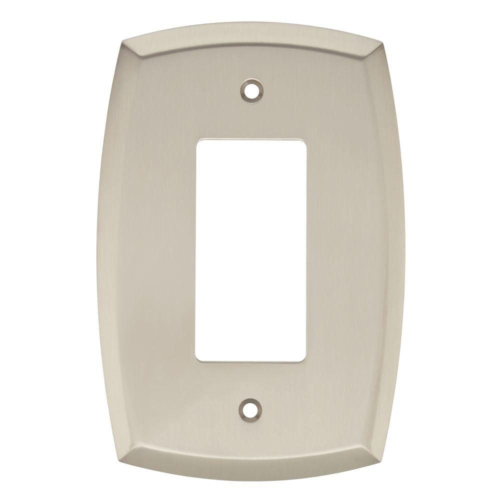 Mandara Decorative Single Rocker Switch Plate, Brushed Nickel (4-Pack)