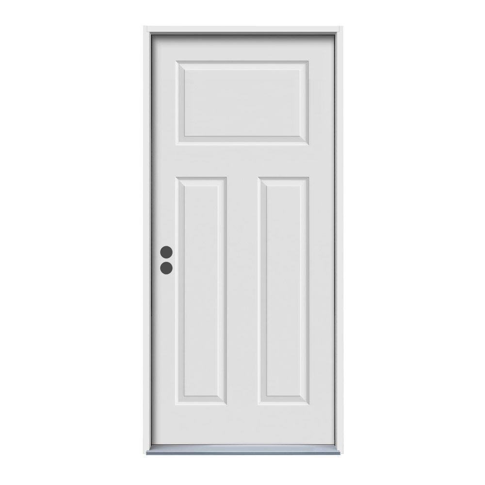 JELD-WEN 36 in. x 80 in. 3-Panel Craftsman Primed Steel Prehung Right-Hand Inswing Front Door w/Brickmould