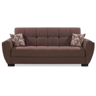 Armada Air 93.5 in. Dark Beige Chenille 3-Seater Full Sleeper Convertible Sofa Bed with Storage
