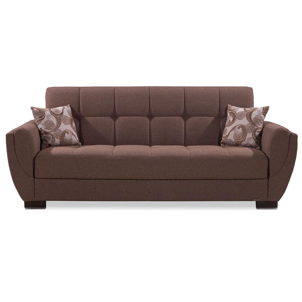 Armada Air Dark Beige Fabric Upholstery Sleeper Sofa Bed with Storage