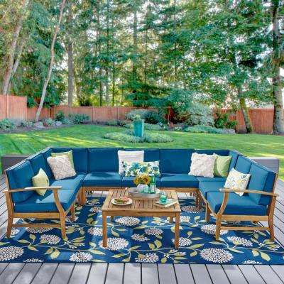 Giancarlo Teak 10-Piece Wood Outdoor Sectional Set with Blue Cushions