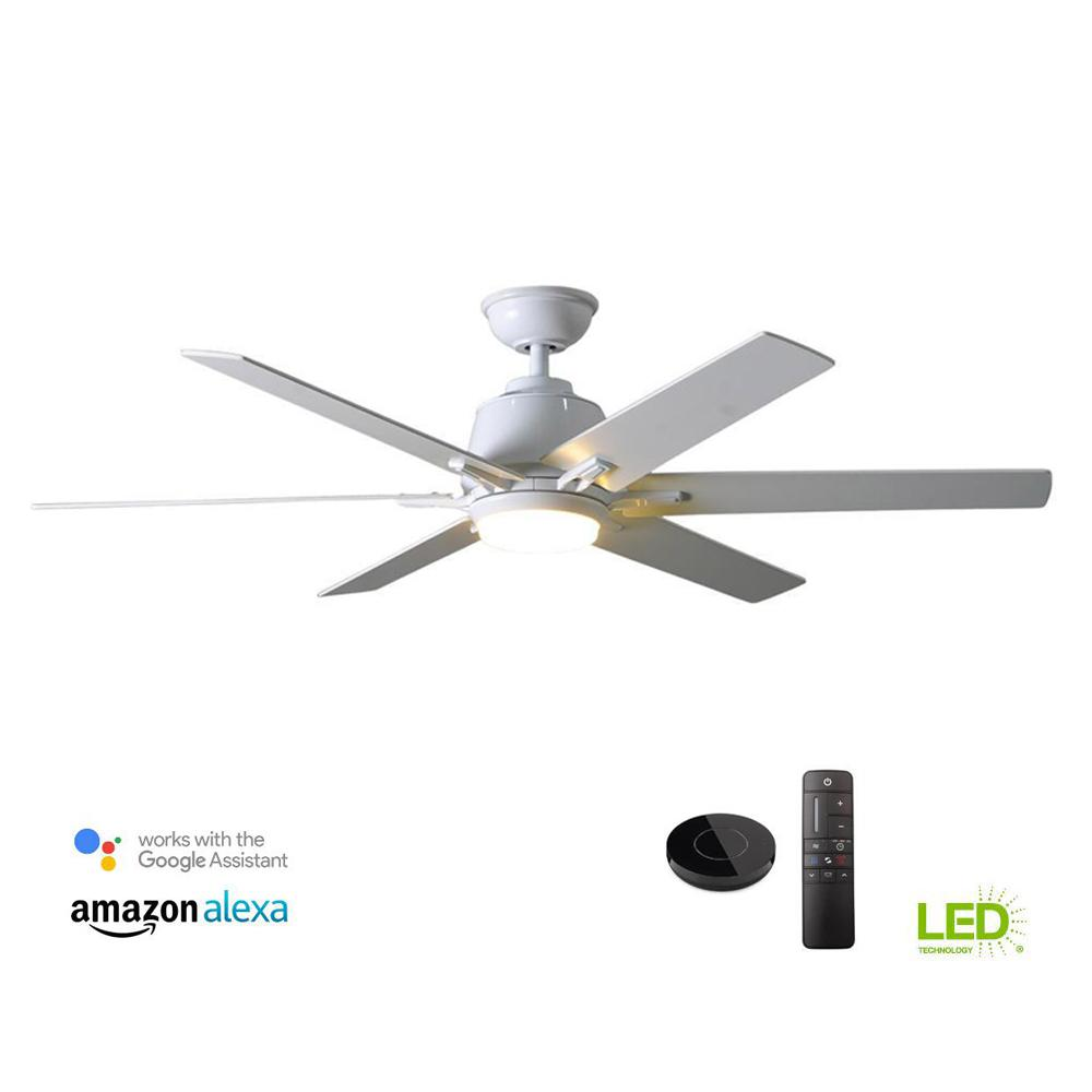 Home Decorators Collection Kensgrove 54 in. Integrated LED Indoor White Ceiling Fan with Light Kit works with Google Assistant and Alexa