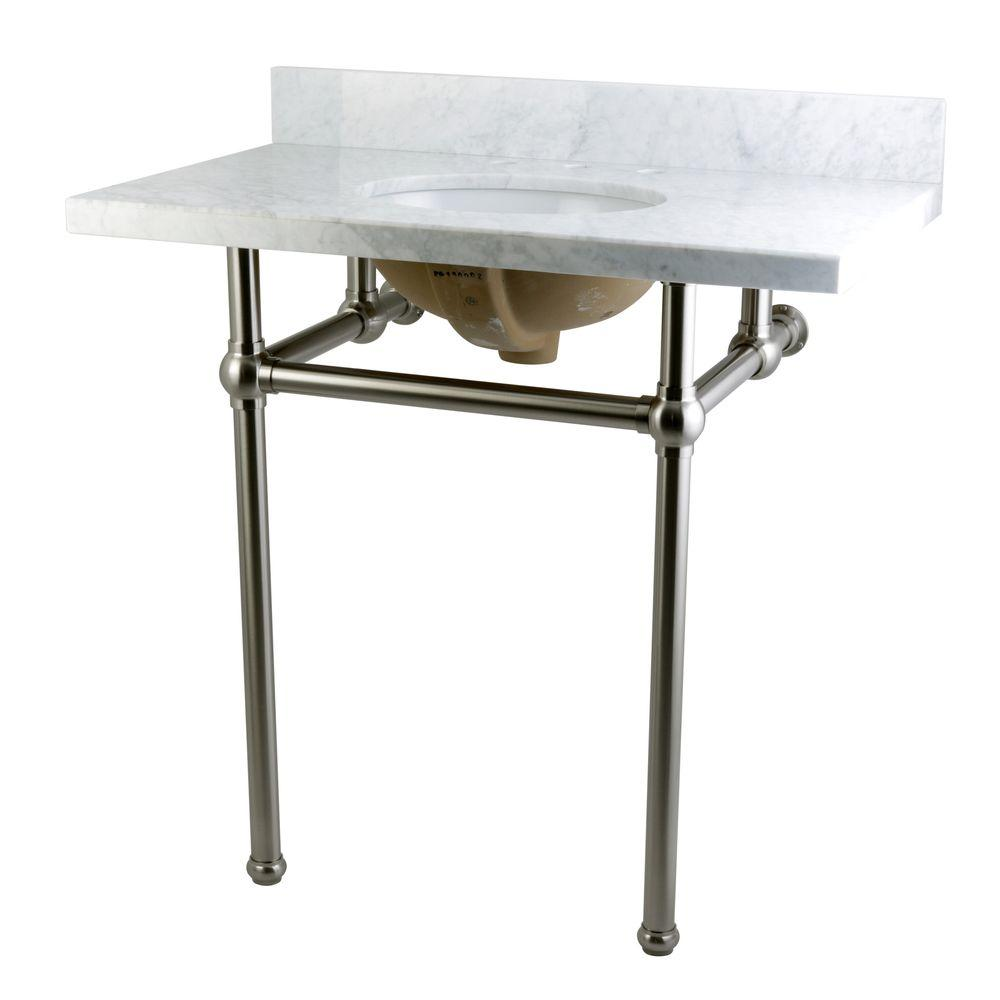Kingston Brass Washstand 36 in. Console Table in Carrara White with Metal Legs in Satin Nickel