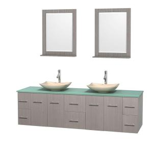 Wyndham Collection Centra 80 inch Double Vanity in Gray Oak with Glass Vanity Top in Green, Ivory Marble Sinks and 24... by Wyndham Collection