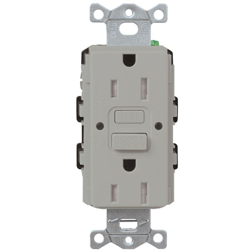 Lutron 15 Amp Tamper Resistant Gfci Duplex Receptacle Gray Car 15