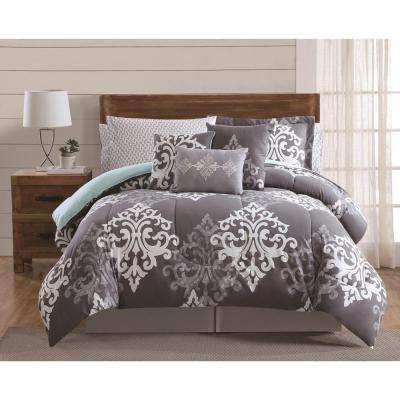 Textured Damask Multi-Color Queen 12-Piece Comforter Set
