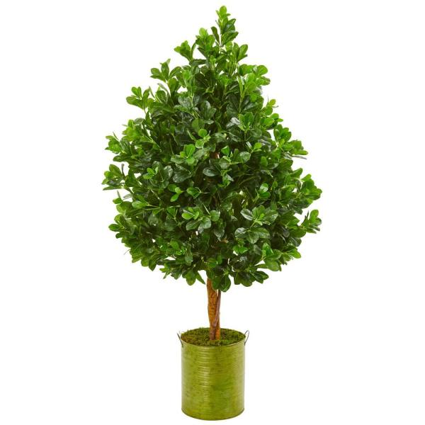 Nearly Natural Indoor 56-In. Evergreen Artificial Tree in Metal Planter