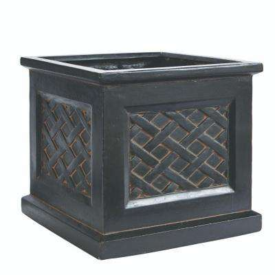 Lattice 18 in. Square Aged Charcoal Clay Planter