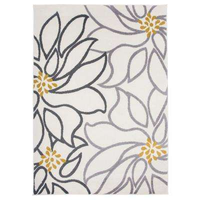 "Contemporary Large Floral Area Rug 7' 10"" x 10' Cream"
