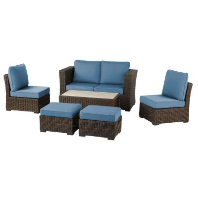 Whitfield 6-Piece Dark Brown Wicker Outdoor Patio Seating Set with CushionGuard Steel Blue Cushions