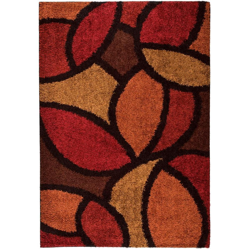 null Miracle Leaf Red 5 ft. 3 in. x 7 ft. 6 in. Indoor Area Rug