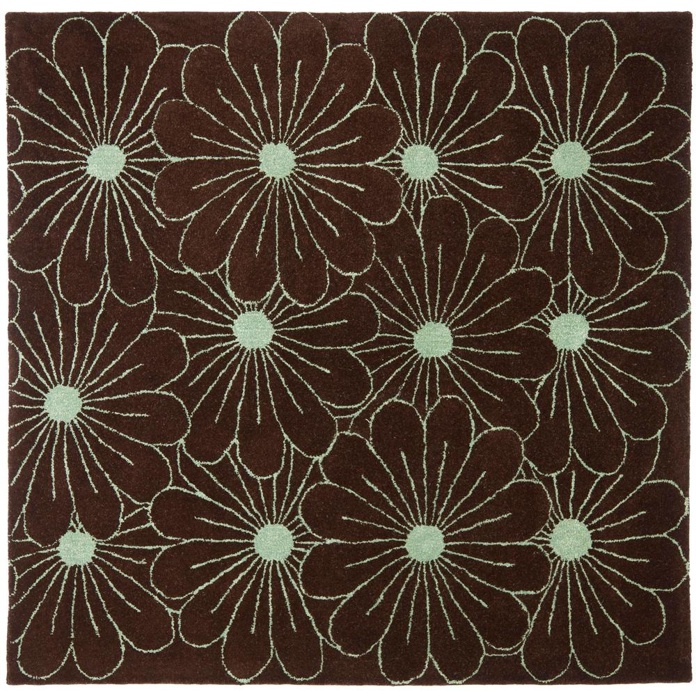Safavieh Soho Brown/Teal 6 Ft. X 6 Ft. Square Area Rug