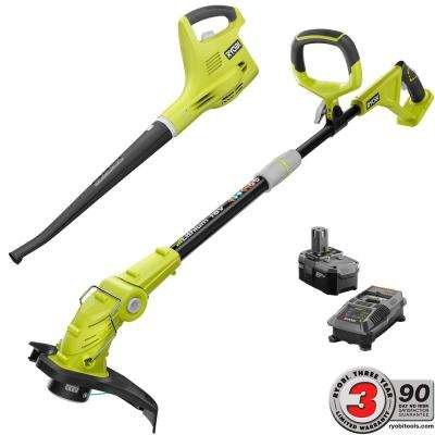 ONE+ 18-Volt Lithium-Ion String Trimmer/Edger and Blower/Sweeper Combo Kit - 2.6Ah Battery and Charger Included