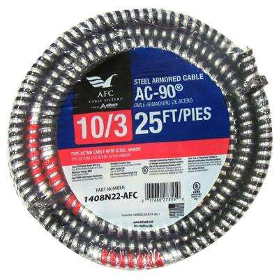 10/3 x 25 ft. BX/AC-90 Armored Electrical Cable