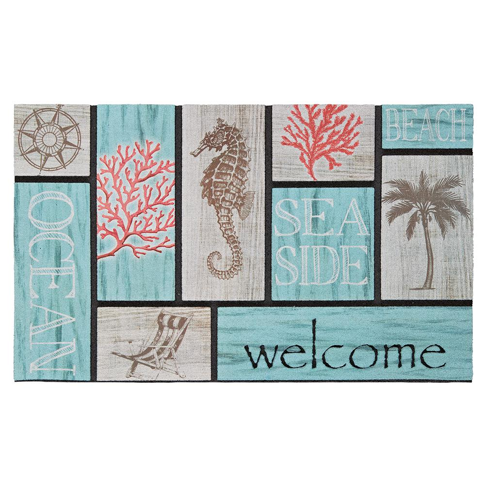 Addison Welcome Coral Azul 18 in. x 30 in. Recycled Rubber