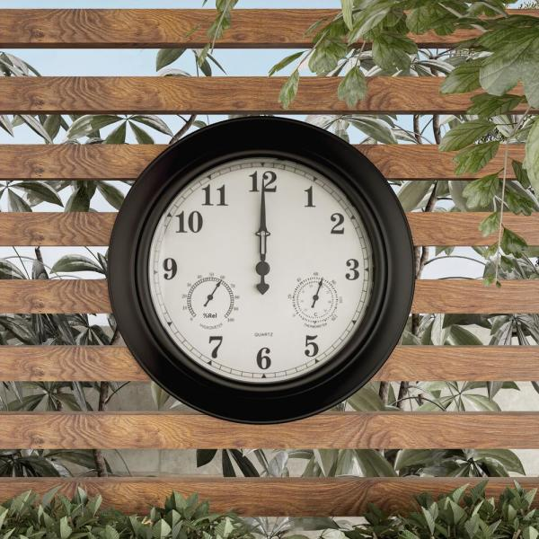 Outdoor Wall Clock with Thermometer /& Hygrometer
