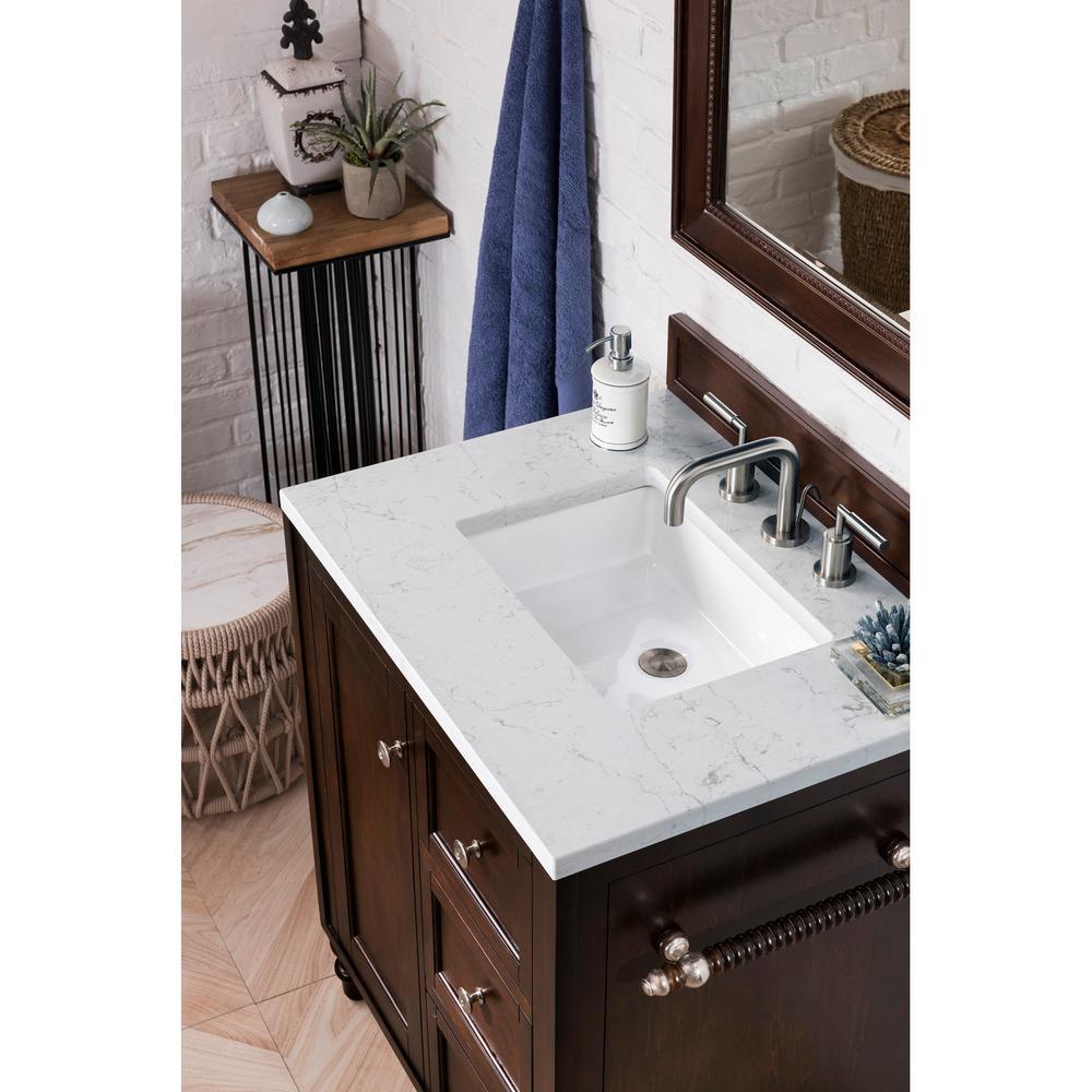 30 in. Single Bath Vanity in Mahogany with Quartz Vanity Top in Eternal Jasmine Pearl with White Basin