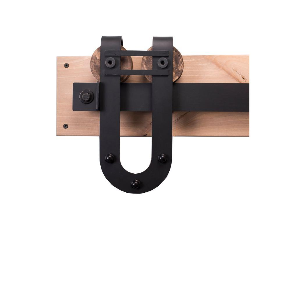 Rustica Hardware 84 In. Flat Black Sliding Barn Door Hardware Kit With  Horseshoe With Bar