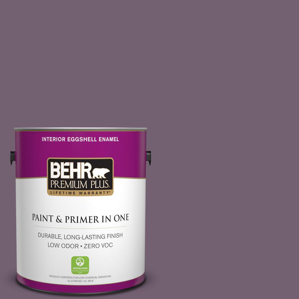 BEHR Premium Plus 1-gal. #680F-6 Shy Violet Zero VOC Eggshell Enamel Interior Paint