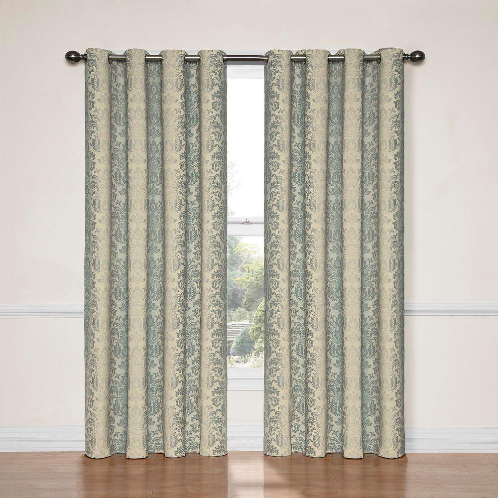 Nadya Print Blackout Window Curtain Panel in Smokey Blue - 52 in. W x 63 in. L