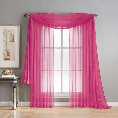 Diamond Sheer Voile 56 in. W x 216 in. L Curtain Scarf in Hot Pink
