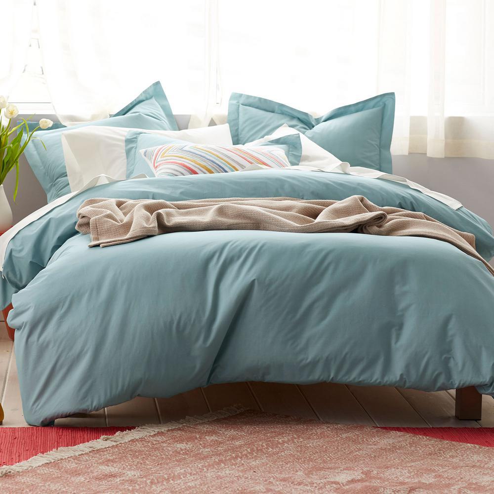 Organic 3-Piece Blue Haze Solid Cotton Percale Full Duvet Cover Set