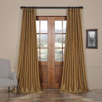 Semi-Opaque Flax Gold Vintage Textured Faux Dupioni Silk Curtain - 50 in. W x 96 in. L (1 Panel)