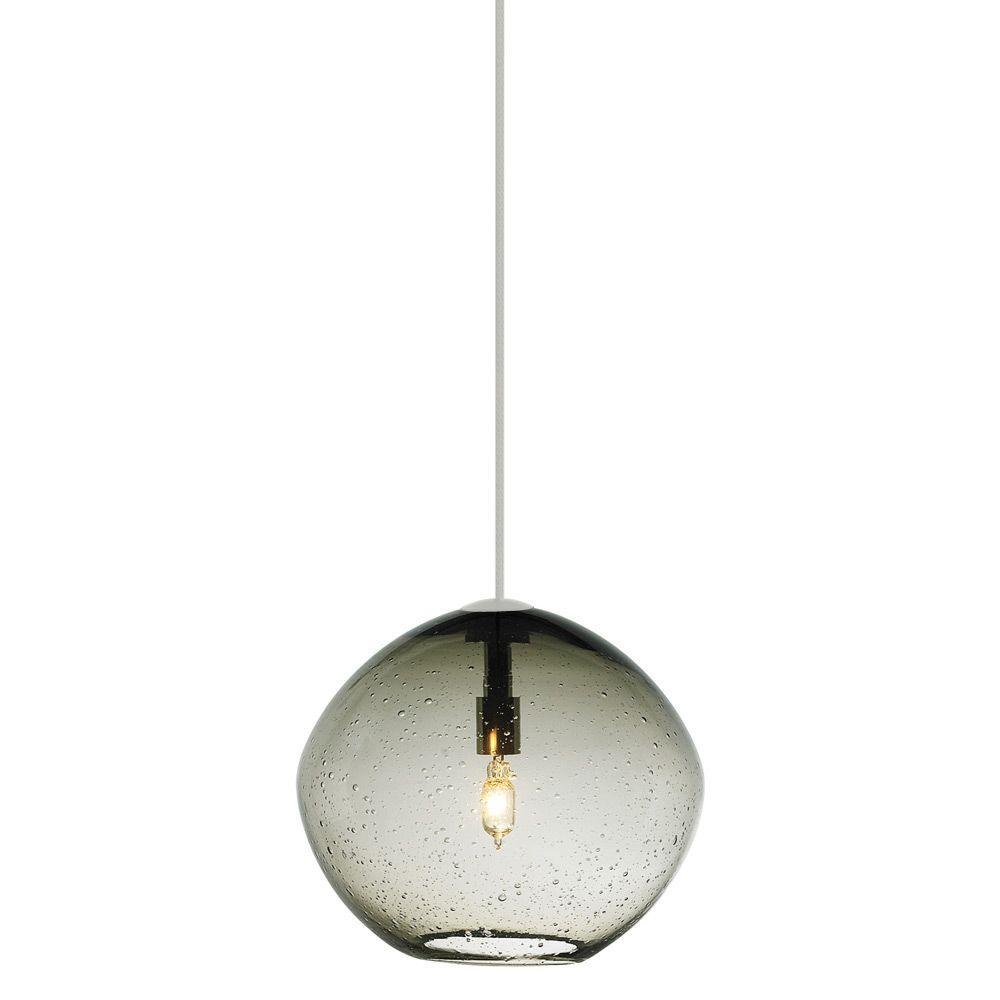 LBL Lighting Mini Isla 1-Light Satin Nickel Smoke Xenon Hanging Mini Pendant