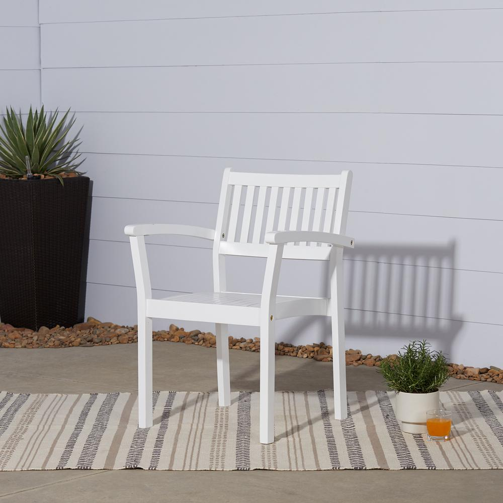 Vifah Bradley Stacking Wood Outdoor Dining Chair 2 Pack