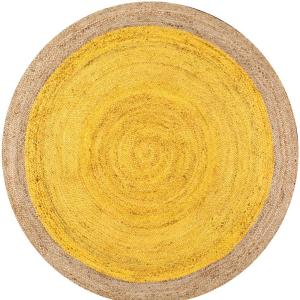 Elanora Farmhouse Bordered Jute Yellow 8 ft. Round Rug