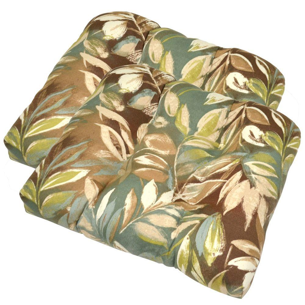 Hampton Bay Seabreeze Tropical Tufted Outdoor Seat Pad (2-Pack)