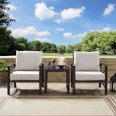Kaplan 3-Piece Metal Outdoor Seating Set with Oatmeal Cushions - 2 Chairs, Side Table