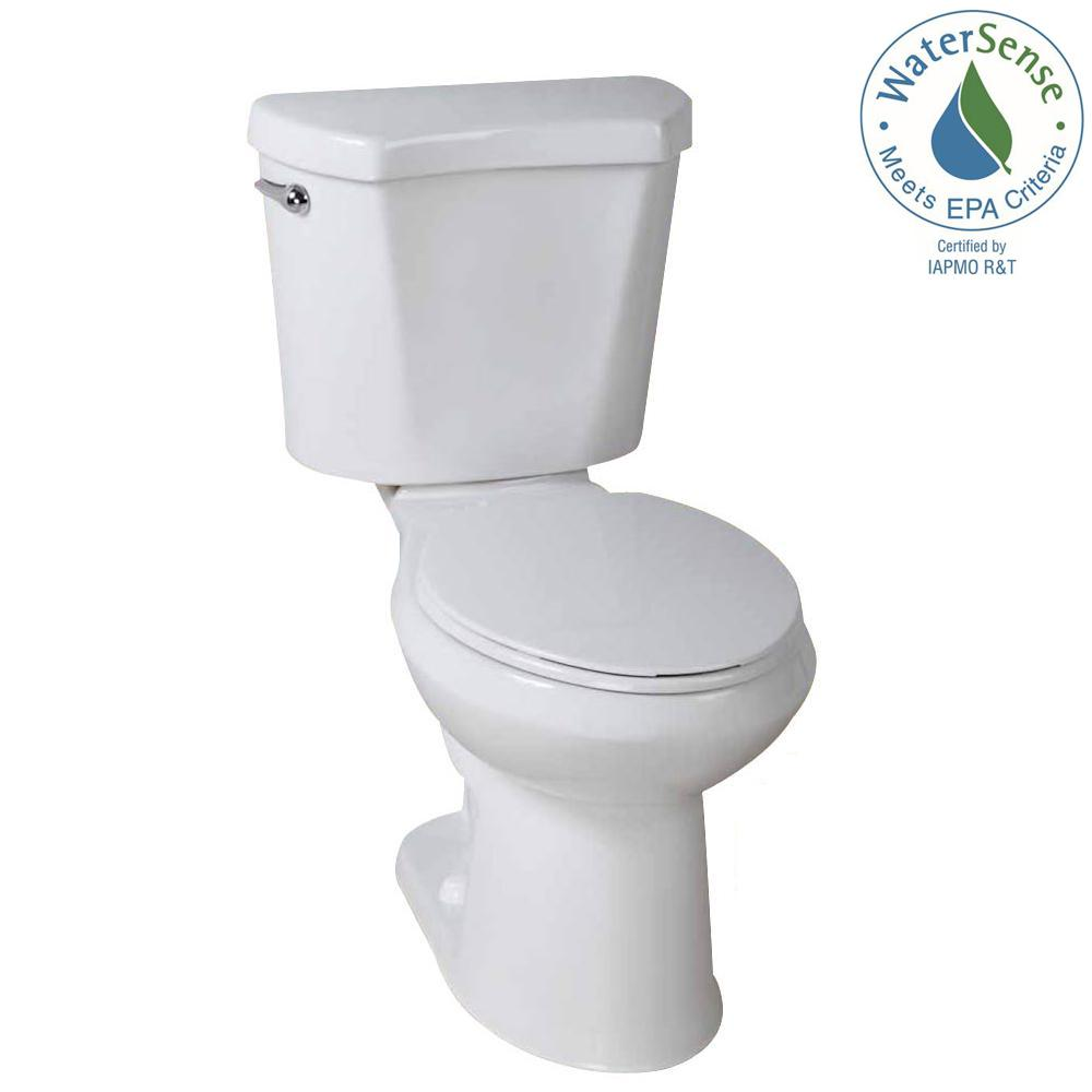 Glacier Bay 2 Piece 128 GPF High Efficiency Single Flush Round Toilet In White