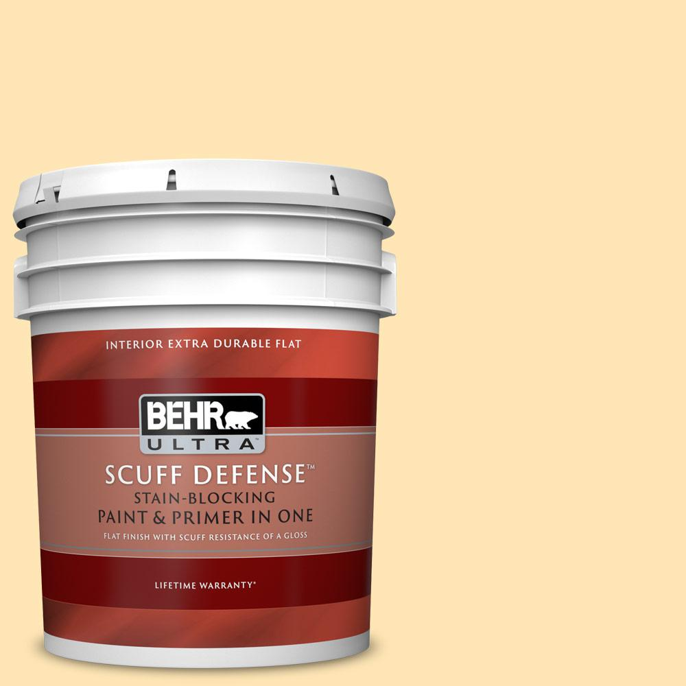 Behr Ultra 5 Gal P260 3 Vanilla Ice Cream Extra Durable Flat Interior Paint And Primer In One 172005 The Home Depot
