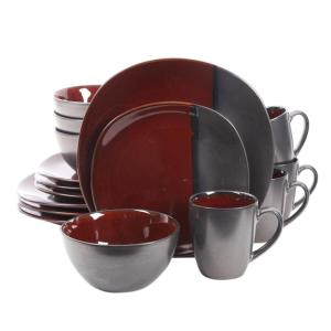 GIBSON elite Volterra 16-Piece Red Stoneware Dinnerware Set-98597355M - The Home Depot  sc 1 st  Home Depot : gibson red and black dinnerware - pezcame.com