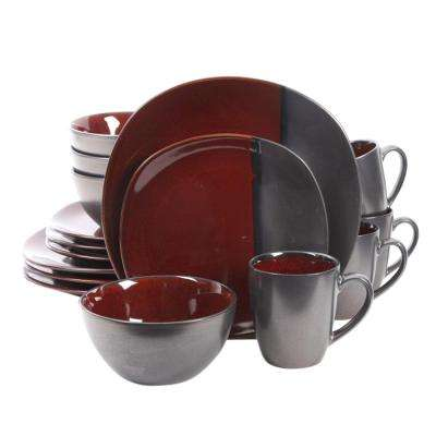 Volterra 16-Piece Red Stoneware Dinnerware Set