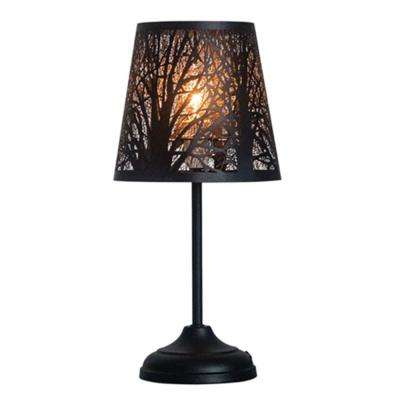 15 in. Steel Black Bed Side Table Lamp Desk Lamp With Lamp Shade (Forest)