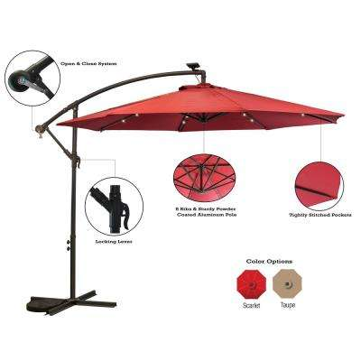 10 ft. Aluminum Pole Cantilever Solar Patio Umbrella in Scarlet