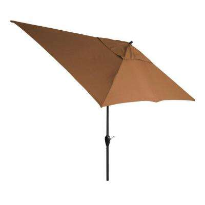 10 ft. x 6 ft. Aluminum Patio Umbrella in Cashew with Push-Button Tilt