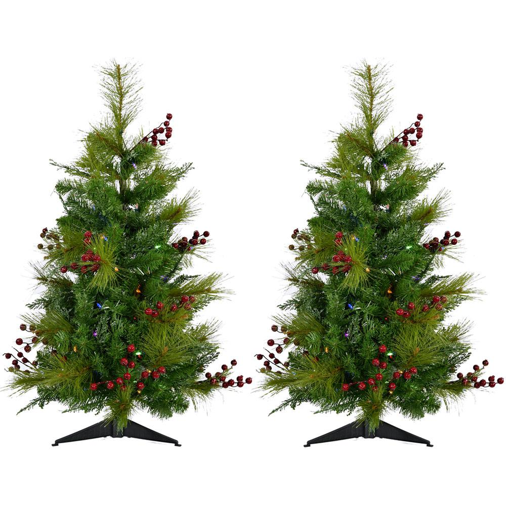 Fraser Hill Farm 2 ft. Newberry Pine Artificial Trees with Battery ...