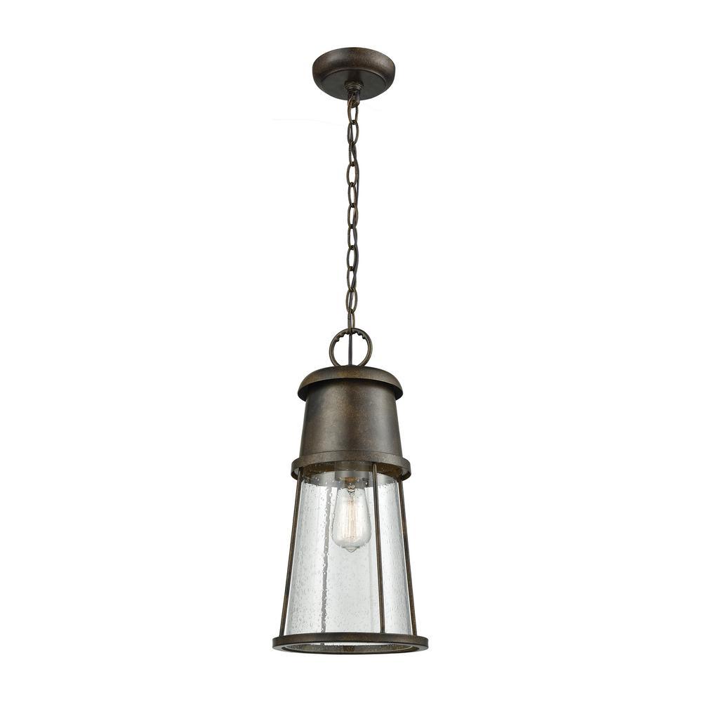 Crowley Hazelnut Bronze 1-Light Outdoor Hanging Pendant