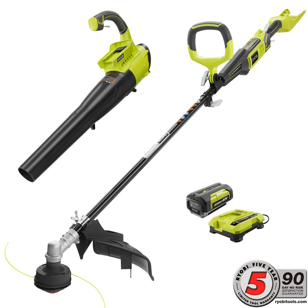 Ryobi Gas Like 40 Volt Lithium Ion Cordless Trimmer Jet Fan