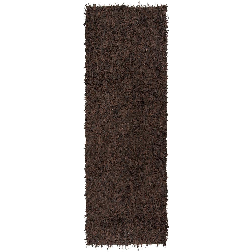 Leather Shag Dark Brown 2 ft. x 8 ft. Runner