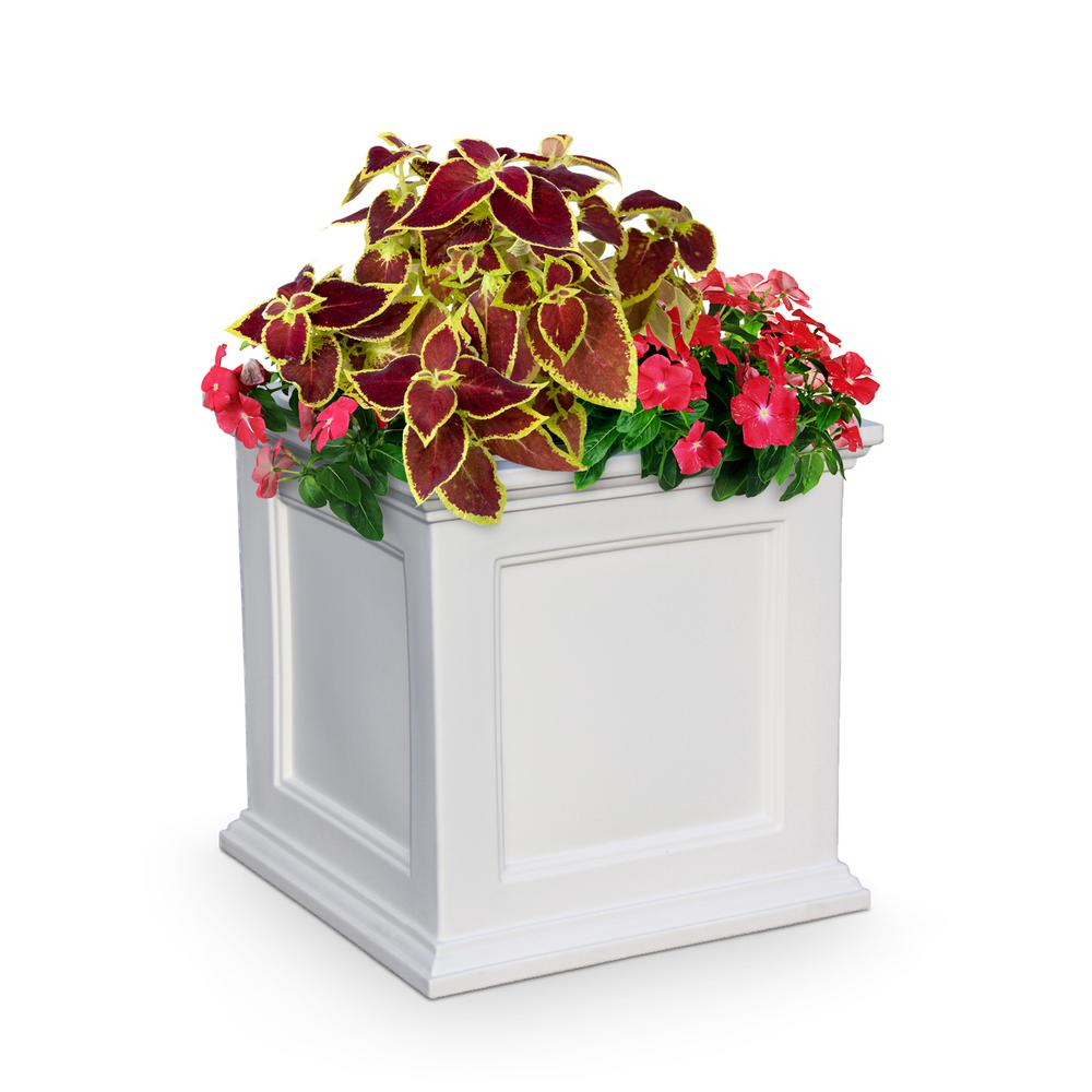 Mayne Self-Watering Fairfield 20 in. Square White Plastic Planter on