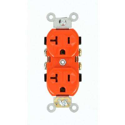 20 Amp 125-Volt Narrow Body Duplex Outlet Straight Blade Commercial Grade Self Grounding Orange