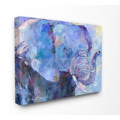 """30 in. x 40 in.""""Brightly Colored Blue and Purple Painted Elephant Portrait"""" by Artist Richard Wallich Canvas Wall Art"""