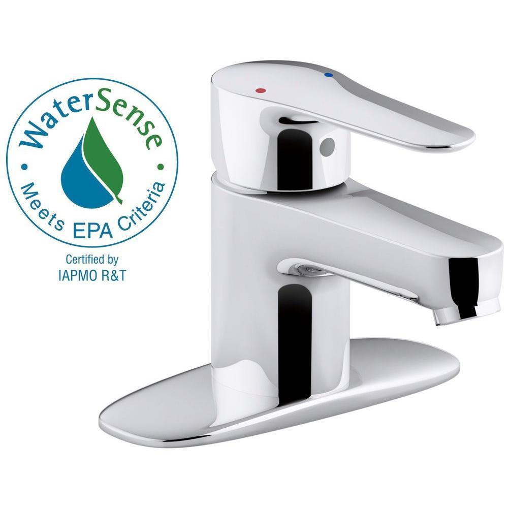 KOHLER July Single Hole Single Handle Bathroom Faucet With Escutcheon In  Polished Chrome