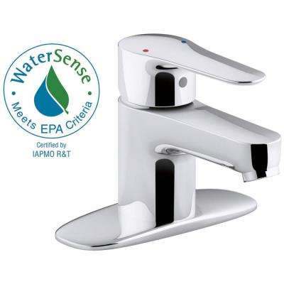 July Single Hole Single Handle Bathroom Faucet with Escutcheon in Polished Chrome