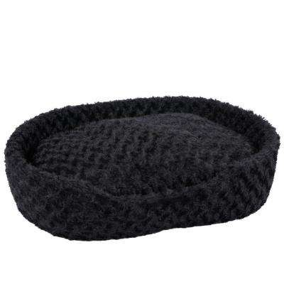 Small Black Cuddle Round Plush Pet Bed